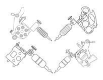 Tatto machines. Contour. Set of 4 different style realistic tattoo machines icons. Revolver tattoo machine, knuckle duster tattoo gun. Line-art illustration Royalty Free Stock Image