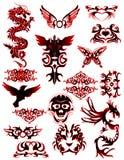 Tatto tribal con 2 diversos dragones Imagen de archivo libre de regalías