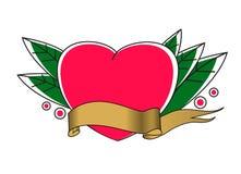Tatto vector illustration. Heart with ribbon royalty free illustration