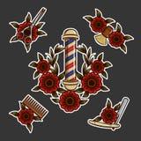 Tatto y etiquetas engomadas de las herramientas de la barbería Foto de archivo