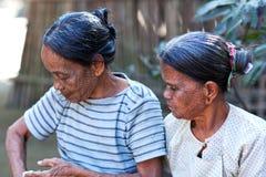 Tattoed妇女,缅甸 免版税图库摄影