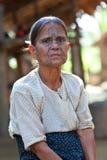 Tattoed kvinna för haka stam, Myanmar Arkivfoto