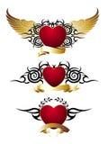 tattoo любящего красного цвета сердец конструкции установленный Стоковое фото RF