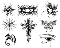 Set of Tattoos with different subjects Stock Images