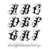 Tattoo alphabet. Handmade vector calligraphy tattoo alphabet Stock Image