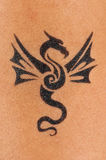Tattoo art. Newly made dragon tattoo on bicep Royalty Free Stock Image