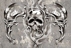 Tattoo art, 3 skulls over grey background, Sketch Royalty Free Stock Image