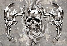 Tattoo art, 3 skulls over grey background, Sketch Royalty Free Stock Image