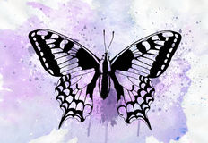 Tattoo Art: Beautiful butterfly painted with watercolors Stock Photo
