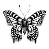 Tattoo art butterfly for design and decoration. Realistic butterfly with shadow. Vector sketch of butterfly.  Royalty Free Stock Image