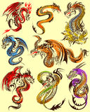 Tattoo art design of Furious Dragon collection. Illustration of Tattoo art design of Furious Dragon collection Royalty Free Stock Images