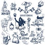 Tattoo art design of Lord Shiva collection Royalty Free Stock Photos