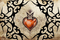 Tattoo art design, tribal with red heart Royalty Free Stock Images