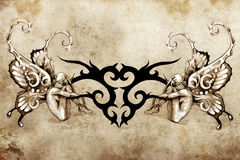 Tattoo art design, tribal with two nymphs Royalty Free Stock Image