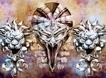 Tattoo art, fantasy medieval gargoyle stock illustration