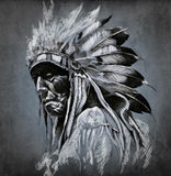 Tattoo Art, Portrait Of American Indian Head Stock Photography