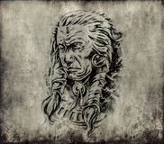 Tattoo art, sketch of an american  indian head Stock Photo
