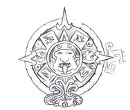 Tattoo art, sketch of a aztec sun Stock Photo