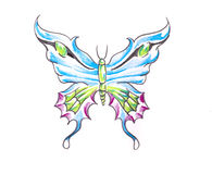 Tattoo art, sketch of a butterfly Royalty Free Stock Photography