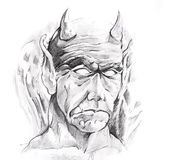 Tattoo art, sketch of a devil Stock Images