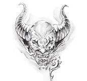 Tattoo art, sketch of a devil Stock Photography