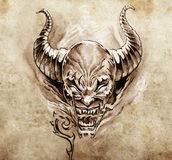 Tattoo art, sketch of a devil with big horns Royalty Free Stock Image
