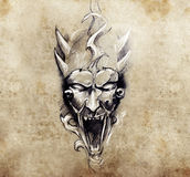 Tattoo art, sketch of a devil with big horns Royalty Free Stock Photos