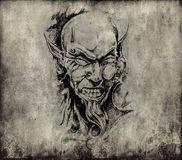 Tattoo art, sketch of a devil head Stock Images