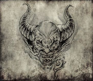 Tattoo art, sketch of a devil over vintage background Stock Photo