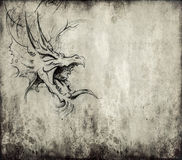 Tattoo art, sketch of a dragon over vintage background Stock Images