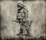 Tattoo art, sketch of an executioner Stock Photos