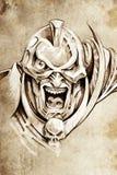 Tattoo art, sketch of a fantasy warrior Royalty Free Stock Photo