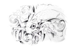 Tattoo art, sketch of a fish Royalty Free Stock Photos