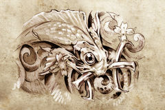 Tattoo art, sketch of a fish. Pisces japanese style Royalty Free Stock Photos