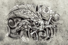 Tattoo art, sketch of a fish, Tattoo art, sketch of a fish, pisc Stock Image