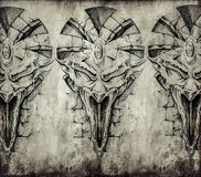 Tattoo art, sketch of a gargoyle over vintage background Stock Photo