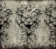 Tattoo art, sketch of a gargoyle over vintage background Royalty Free Stock Images