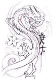 Tattoo art, sketch of a japanese dragon Royalty Free Stock Photography