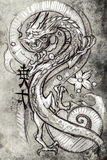 Tattoo art, sketch of a japanese dragon Royalty Free Stock Photos