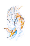 Tattoo art, sketch of a japanese fish. Draw Royalty Free Stock Photos