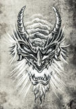 Tattoo art, sketch of a japanese monster mask Royalty Free Stock Images