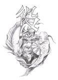 Tattoo art, sketch of a japanese warrior Stock Photos