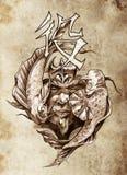 Tattoo art, sketch of a japanese warrior Stock Photo
