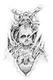 Tattoo art, sketch of a machine royalty free illustration