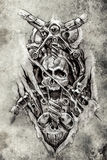 Tattoo art, sketch of a machine gears and skull Royalty Free Stock Image