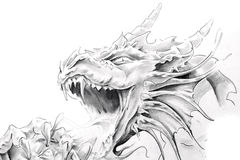 Tattoo art, sketch of a medieval dragon Stock Images