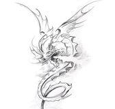 Tattoo art, sketch of a medieval dragon Stock Image