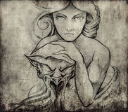 Tattoo art, sketch of mistic woman Royalty Free Stock Images