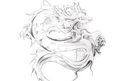 Tattoo art, sketch of an oriental dragon Stock Photography