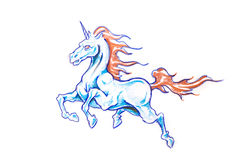 Tattoo art, sketch of an unicorn Royalty Free Stock Image